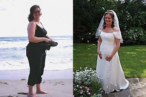 Debbie Fine before and after achieving her fitness goals